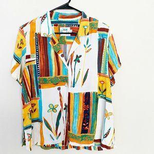 Jams World Sahara Tropical Print Aloha Shirt